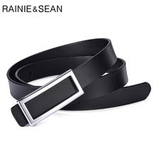 RAINIE SEAN Women Leather Belt Genuine Cowhide Trouser Black Formal Square Smooth Buckle Office Lady Real