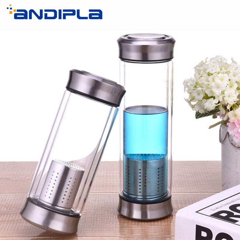 2beb2ab029 420ml Clear Glass Water Bottle with Stainless Steel Tea Infuser Filter 2  Lid Double Wall Drinkware