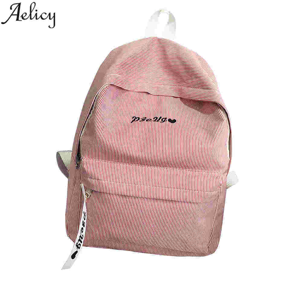 Aelicy Women Backpacks For Teenage Girls Striped School Bags Travel Leisure Laptop Backpack Female Canvas Backpacks Mochila korean women backpack canvas casual floral printing school bags for teenage girls cute bookbags laptop backpacks female gift2017
