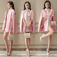 2018 Autumn Women POLO Collar Loose cape blazer Retro Covered Button Cloak Coat Fashion Patchwork Elegant Female women's capes
