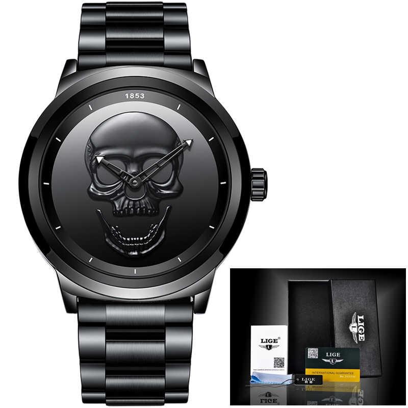 גברים 3D גולגולת שעון ליגע למעלה מותג קוורץ נירוסטה Watchs גברים אופנה עסקים עמיד למים Creative שעון Relogio masculino