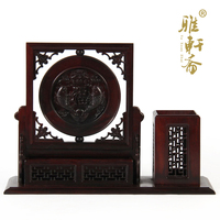 TZ vegetarian mahogany crafts solid wood pen name card box office Fuzhou Pisces combination ornaments with gift box
