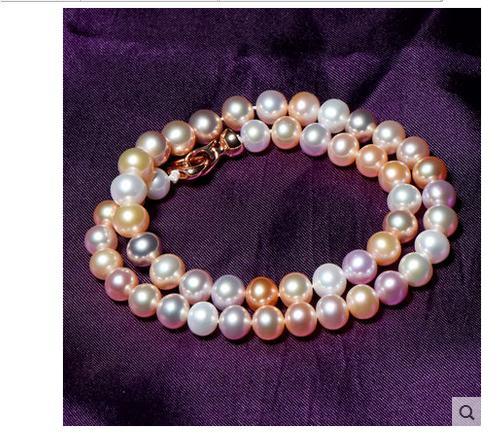 Collier de perles multicolores rondes de 20 pouces 9-10mm de mer du sudCollier de perles multicolores rondes de 20 pouces 9-10mm de mer du sud