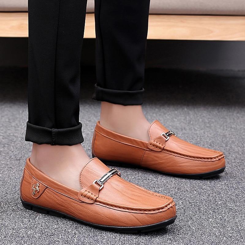 Condução Sapatos Pinsv Couro Tênis Sapatas Brown 47 Tamanho Black Deslizamento 38 Mens Preto Brown Preguiçosos red yellow De Mocassins Calçado Em Homens q7aXaBw