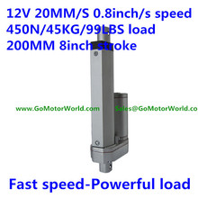 20mm/sec 0.8inch/sec speed 450N 45KG 99LBS load 200mm 8inch stroke 12V mini electric linear actuator