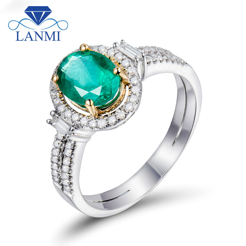 NEW Vintage Jewelry!! Oval 6x8mm Emerald With Brilliant