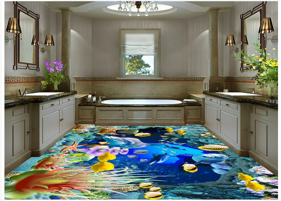 Custon 3d wallpaper 3d flooring wallpaper wall sticker 3 d underwater world floor background wall paintings home decor