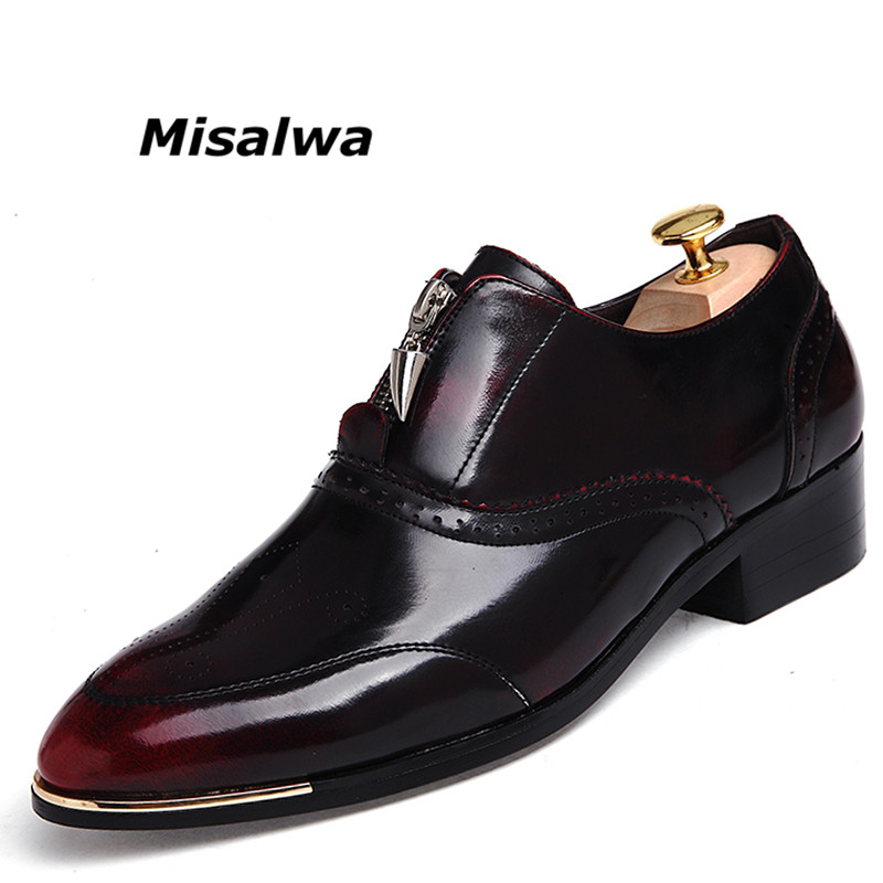 Misalwa Italian Designer Brogue Shoes Leather Oxford Dress Shoes For Men Black Brown Lace Up Classic Formal Business Drop Ship 2017 classic polka dot lace up men brogue dress shoes genuine leather brown black formal office business man suit shoe e71815 21 page 9