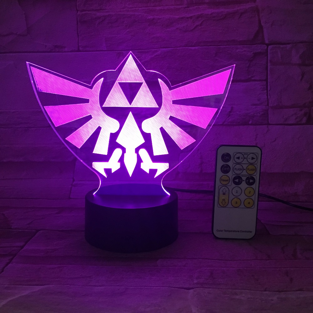 The Legend Of Zeldas Triangle 3D USB LED Night Light 7Colors Illusion Lamp Touch Or Remote Control Kids Living Bedroom Desk Lamp