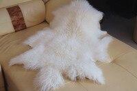 White Color Mongolian Sheep Fur Skin Long Haired Sheep Fur Skin