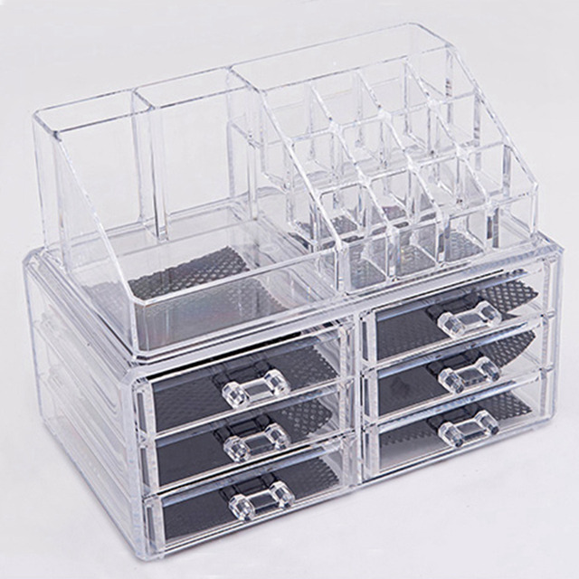 US $58 51 15% OFF|Transparent Plastic Drawer Type Makeup Desktop Storage  Box Crystal Acrylic Jewelry Cosmetic Organizer Christmas Girls Gift-in