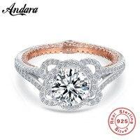 アンティークジュエリーフラワー設計へ925スターリングシルバー模擬石結婚式婚約指輪用愛サイズ6 7 8