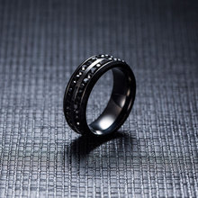 Men's Stylish Stainless Steel Ring with Two Rows of Crystals