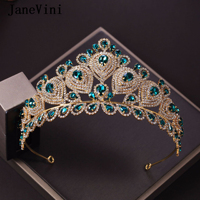 JaneVini Baroque Luxury Crystal Bridal Crowns and Tiaras Peacock Blue Diadem for Women Brides Jewelry Wedding Hair Accessories