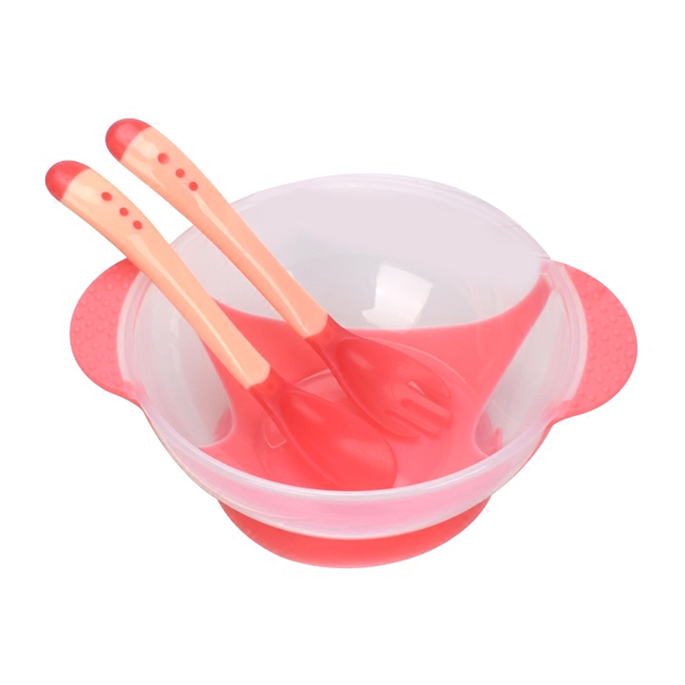 Assist миски для корма, тренировочные блюда и чашка, детская посуда, ложка, 3 шт., розовая/желтая/синяя PP, чаша для риса, Noddle, прочная - Цвет: pink