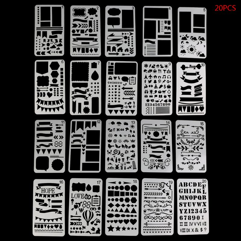 20Pcs Bullet Journal Stencil Set Plastic Planner DIY Drawing Template Diary Decor Craft DIY Stencil School Supplies