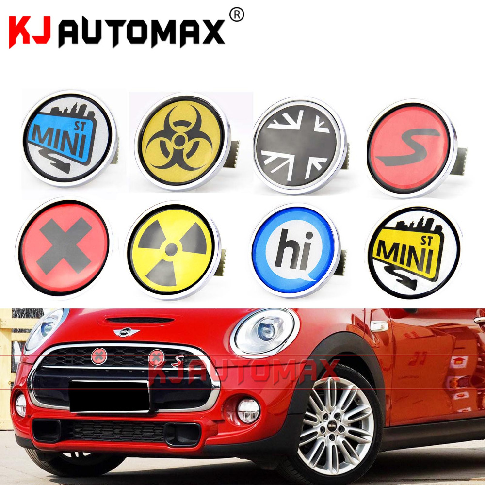 Mini Cooper Metal Front Grille Emblem Badge Set Sticker Accessories Countryman Clubman all version for the wheel color the circle sticker mini cooper clubman countryman car sticker