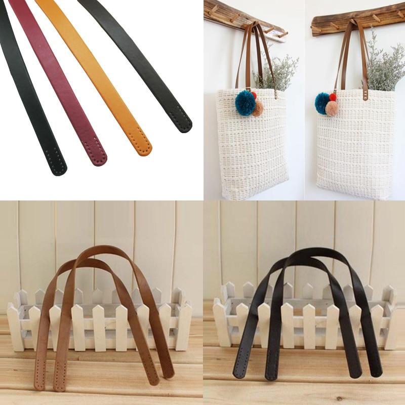 2PCS Bag Handles 100% Genuine Leather  Fashion Handbag DIY Handle Really Oxidation Cow Leather Accessory Bags Handmade Part 60cm