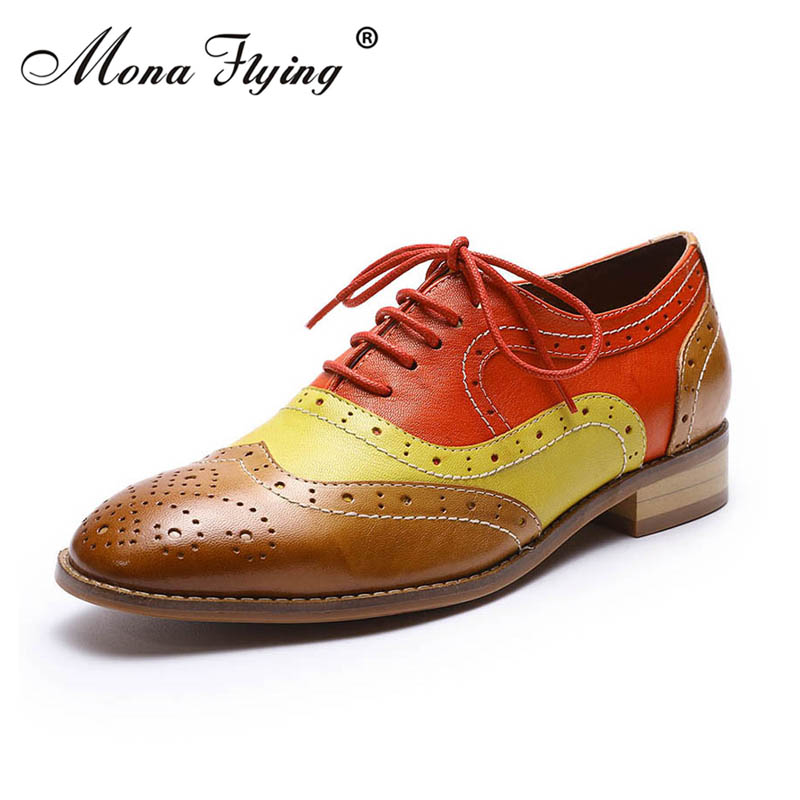 Women Flats Oxfords Shoe 2018 New Brand Genuine Leather Women Lace-up Casual Brogue Shoes for Women Handmade Flat Shoes FLX19-1