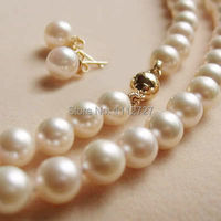 Jewelry Set Genuine 8 9MM 2014 New White Akoya Shell Pearl Necklace Earring Beads Natural Stone