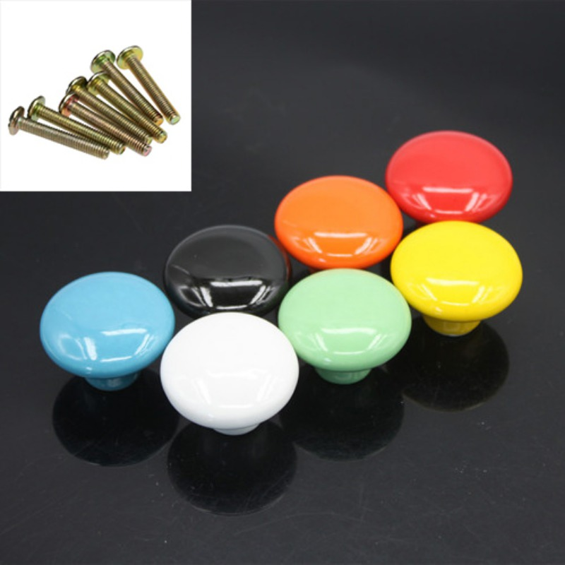 Candy Color Round Furniture Knobs Ceramic Drawer Knob Cabinet Pulls Cabinet Closet Cupboard Pull Handle Modern Kitchen Handle candy color bear ceramic drawer handle for children lovely furniture fittings