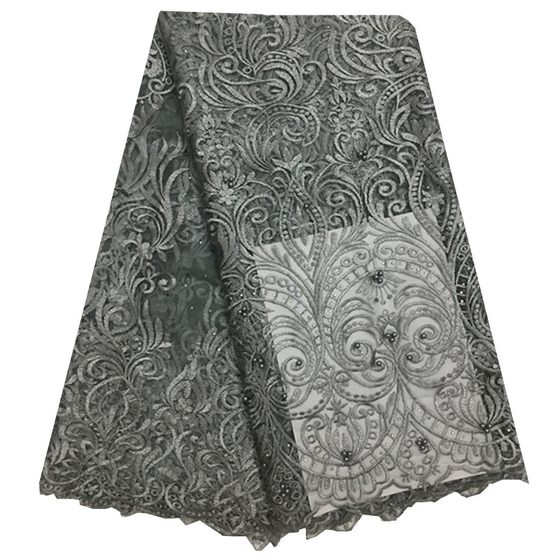 High Quality Nigerian Cord Lace Fabric With Beads African French Net Lace Fabric Embroidered Silver Grey