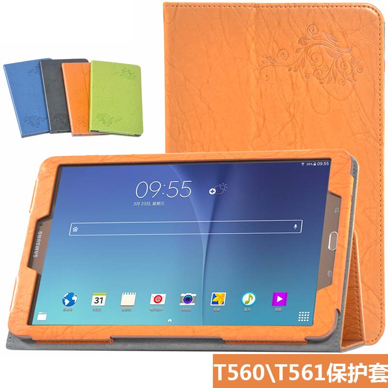Luxury Print Stand PU Leather Magnetic Closure Skin Case Cover Protector For Samsung Galaxy Tab E 9.6 SM-T560 T560 T561 Tablet luxury flip stand case for samsung galaxy tab 3 10 1 p5200 p5210 p5220 tablet 10 1 inch pu leather protective cover for tab3