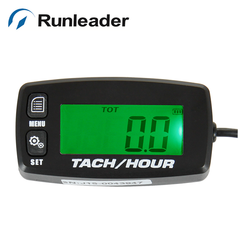 RL-HM032R Runleader Backlight Digital LCD battery replaceable inductive tachometer Hour Meter for motorcycle marine outboard