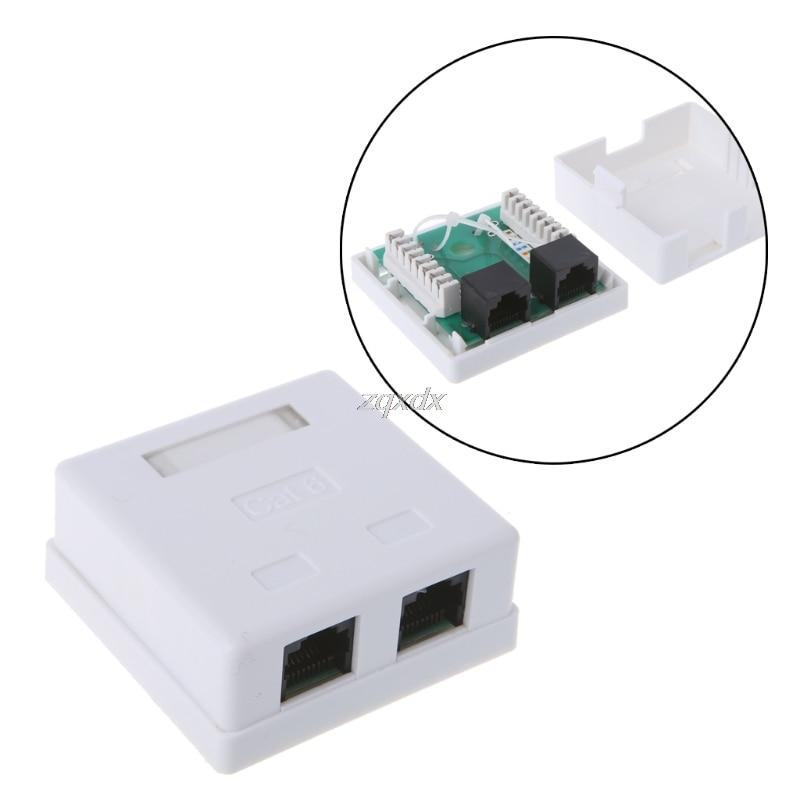 RJ45 Junction Box CAT6  Connector 2 Port Desktop Extension Cable Box Z09 Drop Ship