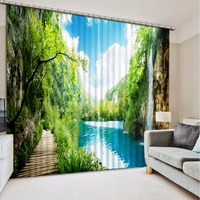 Bed Room Living Room Office Hotel Cortinas Wooden Bridge Lake Natural Scenery Curtains Curtain Motorized Printed Curtain