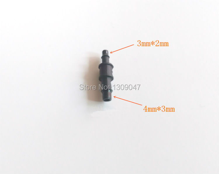 20pcs/lot UV plastic tube connector solvent printer UV tube connector 4X3mm to 3X2mm Mutoh Roland Mimaki UV ink tube connectors eco solvent ink for roland mimaki printer use