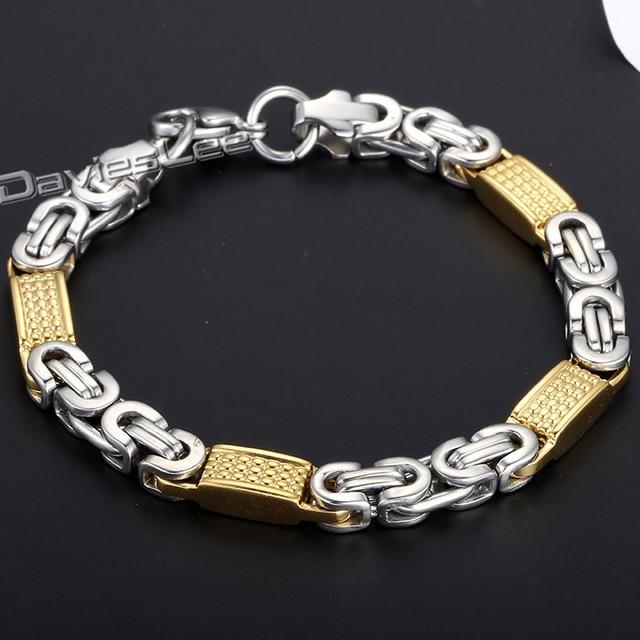 93ddd501fe41 Davieslee Fashion Gift 8mm Mens Chain Boys Bracelet Gold Silver Tone Flat  Byzantine Chain Link Stainless Steel Bracelet DLKB403
