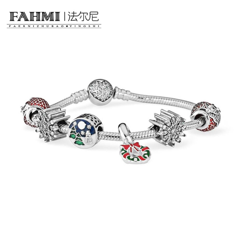 FAHMI 2017 NEWEST 100% 925 Sterling Silver Hand catenary suit Clear CZ Charm Bead E series Bracelets DIY For Women Jewelry a suit of cute rhinestone elephants alloy bracelets for women