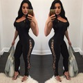 Black Side Lace Up Jumpsuit 2017 Summer Women Sleeveless Bodycon Club Bodysuit Overalls Sexy Hollow Out Long Rompers