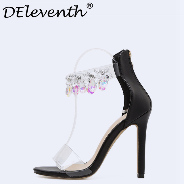 1ca9339b51692f DEleventh 2018 Summer Shoes Beautiful Big Crystal Stiletto High Heels  Womens Shoes Sexy Party Rhinestone Sandals Apricot Black