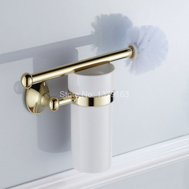 Luxury Gold Color Brass Bath Hardware Wall Mounted Toilet Brush & Holder Set White Brush Ceramic Cup Bathroom Accessory aba879 luxury gold toilet brush cup brush holder golden brass holder wall mounted