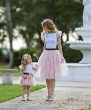Family Matching Clothes 2Pcs Ruffle T-shirt Tulle Tutu Skirt Dress Mother Daughter Summer Hot Bow Patchwork Dress Girls Clothing