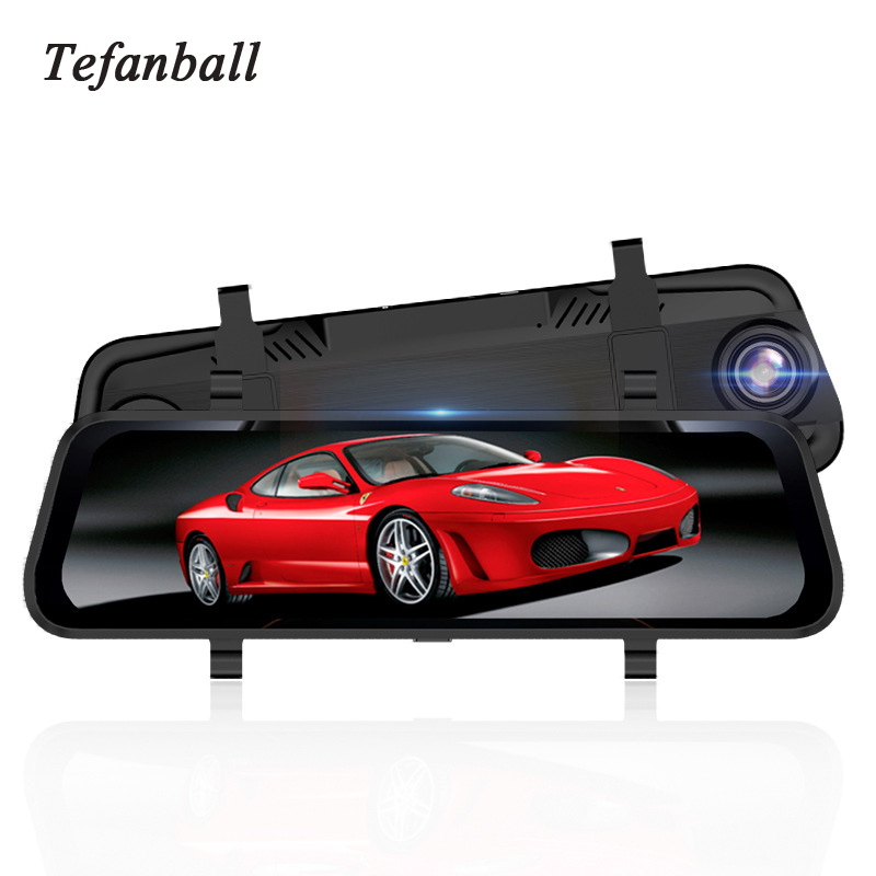 Tefanball Car Recorder DVR Pro Stream Rear View Mirror Car Registrar Dvr Video Recorder Dash Cam 24 Hours Camera Surveillance