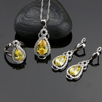 Silver 925 Jewelry Yellow Cubic Zirconia With White Beads Jewelry Sets For Women Wedding Earrings Rings