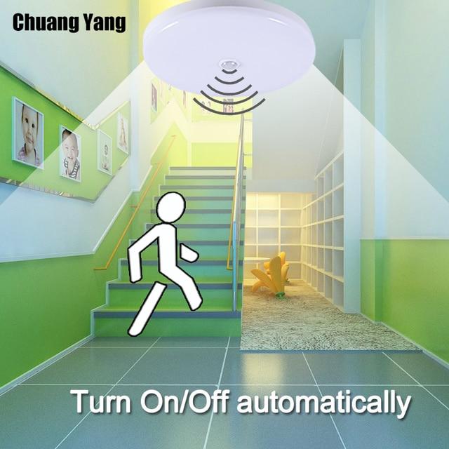 Surface Mounted LED Ceiling Lamps 5/7/9/12/18W Ceiling Lighting For Entrance Garage Corridor E27 Led Bulb with Motion Sensor