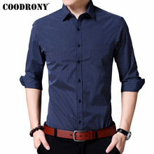 COODRONY Men Shirt Autumn Classic Striped Business Casual Shirts With Pocket Long Sleeve Cotton Shirt Men Camisa Masculina 96033 striped long shirt with chest pocket