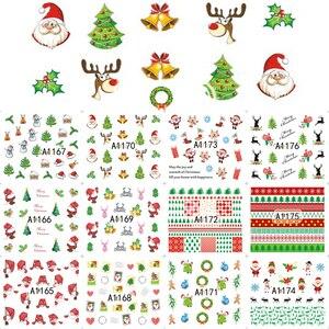 Image 5 - 12PCS Botas Sinos Cervos Do Boneco de Neve Árvore de Natal Deslizante de Transferência da Água Nail Art Adesivo Decalque Manicure Ferramenta Dicas Wraps JIA1129 1176