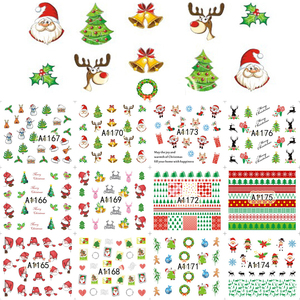 Image 5 - 12PCS Christmas Snowman Tree Boots Bells Deer Water Transfer Nail Art Sticker Decal Slider Manicure Wraps Tool Tips JIA1129 1176