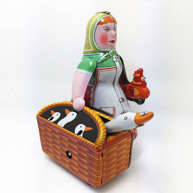 Vintage Peasant Woman Carrying a Basket Luggage Model Wind-up Clockwork Tin Toy Collectible Gift for Kids/Adult