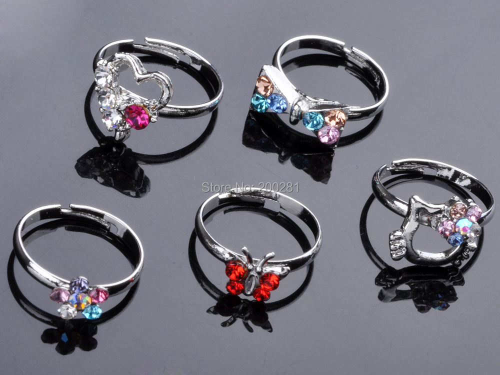 lot plated ring kid store cute wholesale assorted rings mix product crystal silver design