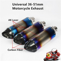 470mm Universal Motorcycle Exhaust Carbon Laser Marking Muffler Pipe Escape For CBR500 GSXR600 R6 R1 Z900 With DB Killer Sticker