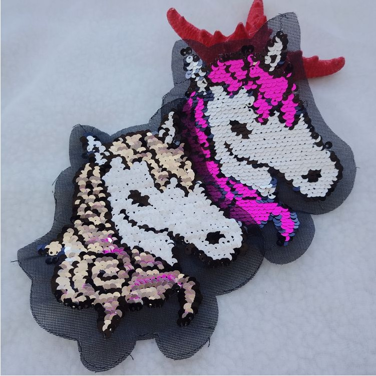 Patches Horse Cat Reversible Change Color Sequins Sew On Unicorn Patches For Clothes Diy Patch Applique Bag Clothing Coat Sweater Craf