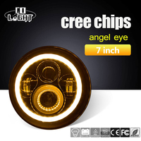 Co Light 1pair 7Inch Round Led Headlight For 97 15 Jeep Wrangler With Halo Angel Eye