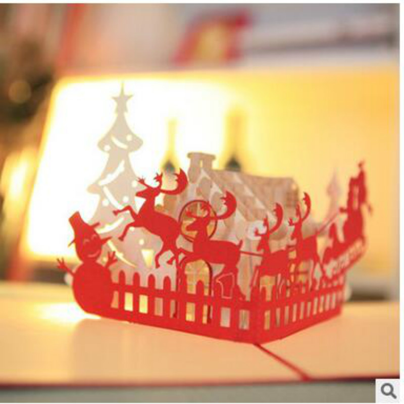 2017 New Year Fashion 3D Christmas Decorations Christmas  Card Tri-Folding Type Christmas Decorations For Home yeduo woman sexy apron new year christmas decorations