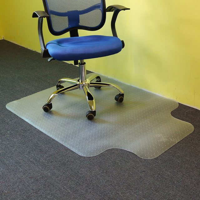 1pc Lipped Office Chair Desk T Shaped Carpet Protector Mat Clear With Grips